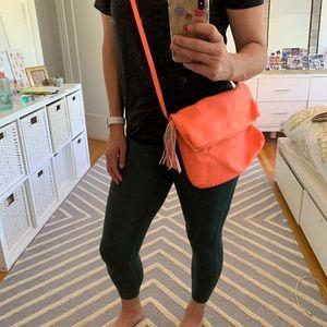 JCrew electric grapefruit leather cross body bag